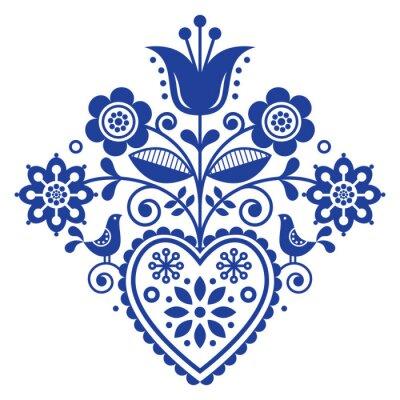 Art Populaire Retro Scandinave Floral Dessin Vectoriel En Bleu