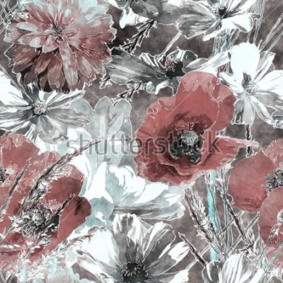 Papiers peints art vintage aquarelle coloré transparente motif floral avec coquelicots rouges et blancs, pivoines, roses, feuilles et herbes sur fond gris foncé