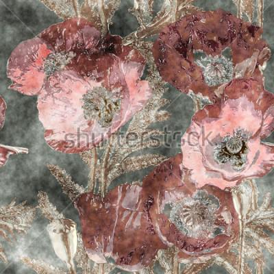 Papiers peints art vintage aquarelle coloré transparente motif floral avec des coquelicots rouges sombres, des feuilles et des herbes sur fond