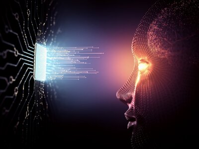 Papiers peints Artificial Intelligence concept. Data coming out of the microchip towards the human being with android characteristics.