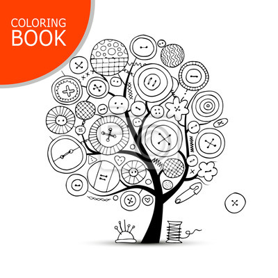 Arbre Pour Coloriage.Artisanat De Couture Arbre Dart Page Pour Ton Livre A Colorier