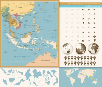 Papiers peints Asie du Sud-Est Carte détaillée avec l'icône de navigation.