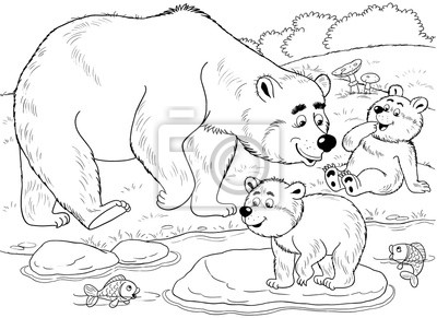 Coloriage Famille Ours.Papiers Peints Au Zoo Animaux De Foret Mignonne Une Famille Dours Mignons
