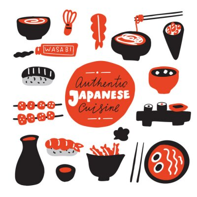 Papiers peints Authentic japanese cuisine.Hand drawn food. Doodles. Made in vector.