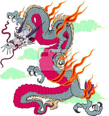 Autocollant de dragon vieux japonais sur fond noir tatouage papier peint papiers peints siam - Dragon japonais ...