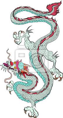 Autocollant De Dragon Vieux Japonais Sur Fond Noir Tatouage Papier