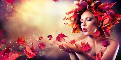 Papiers peints Automne femme souffler les feuilles rouges - Beauté Mode Girl Model