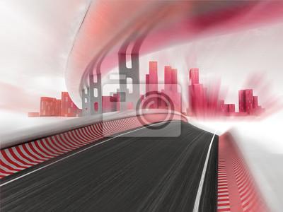 autoroutes de la course menant à la ville moderne dans le flou de mouvement rendent
