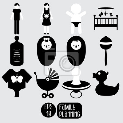 Baby icons set. Family planning.
