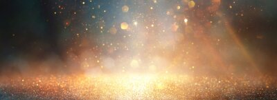 Papiers peints background of abstract glitter lights. gold, blue and black. de focused