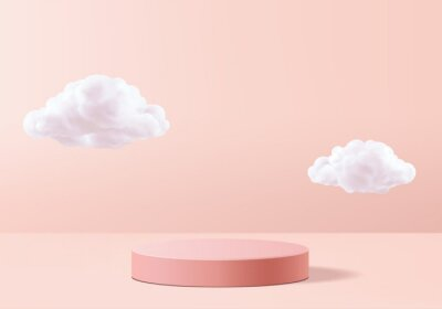 Papiers peints Background vector 3d pink rendering with podium and minimal cloud white scene, minimal cloud abstract background 3d rendering geometric shape pink pastel podium. Stage and cloud 3d render