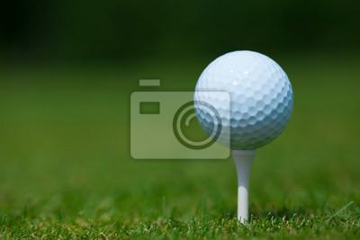 Papiers peints balle de golf sur un tee-shirt blanc avec une herbe verte en arrière-plan