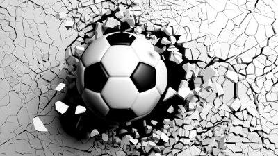 Papiers peints Ballon de foot brisant de force un mur blanc. Illustration 3d