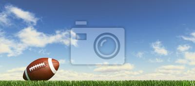 Papiers peints Ballon de football américain, sur l'herbe, avec un ciel de couds moelleux dans t