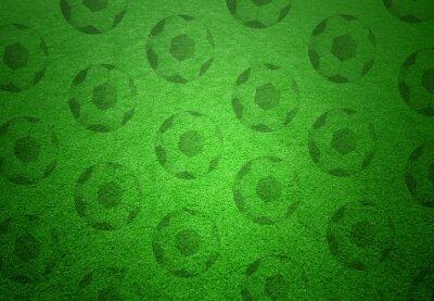 Papiers peints Ballons de football modèle sur fond d'herbe verte. Conceptuel, football, copie, espace, fond.