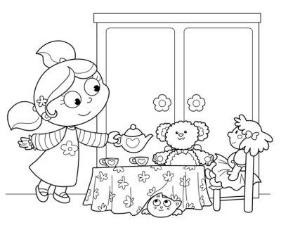 Papiers peints Bambina che gioca un servire il te de bambole alle