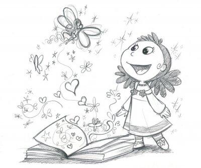 Papiers peints Bambina con libro fantaisie