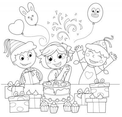 Papiers peints Bambina felice che il compleanno festeggia