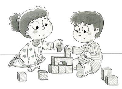 Papiers peints Bambini che giocano con cubetti. Bn