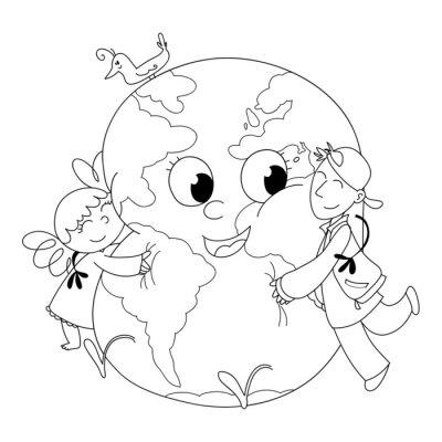 Papiers peints Bambini Felici che abbracciano la terre, da colorare