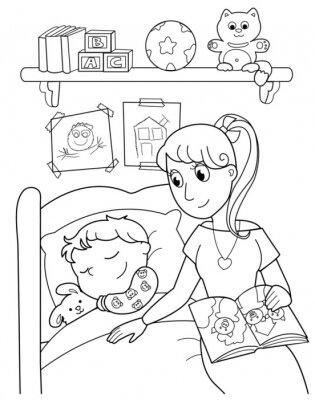 Papiers peints Bambino addormentato con la maman