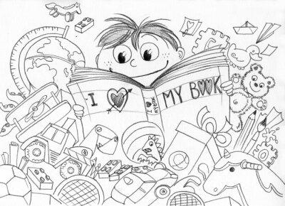 Papiers peints Bambino che ama la lettura realizzato un matita