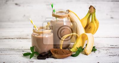 Banane, chocolat, smoothie, verre, pot