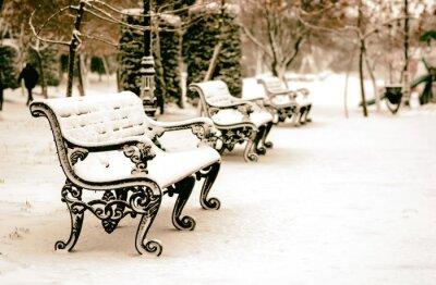 Papiers peints Banc, neigeux, hiver, Parc