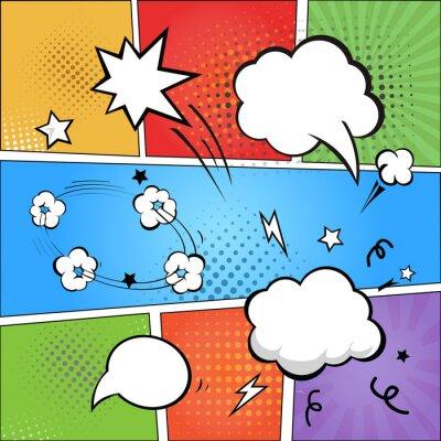 Papiers peints Bande dessinée et de la parole comique bulles sur les demi-teinte colorée