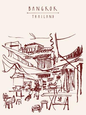 Papiers peints Bangkok, Thaïlande, main, dessiné, carte postale