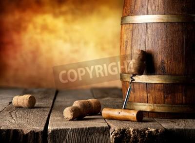 Papiers peints Baril, vin, tire-bouchon, bois, table