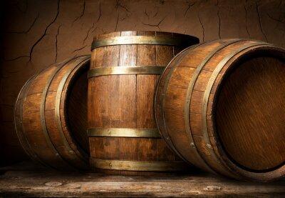Papiers peints Barils en bois dans la cave