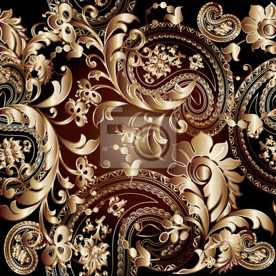Baroque Damasse Floral Vecteur Seamless Modele Papier Peint