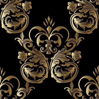 Baroque Damasse Royal Luxe Noir Medieval Floral Vecteur