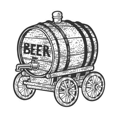 barrel of beer on cart sketch raster illustration