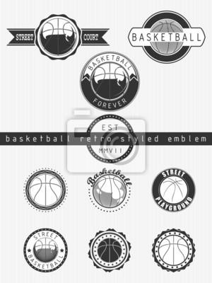Basket-ball emblème style rétro