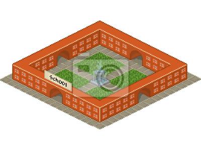 bâtiment de l'école dans le style pixel art