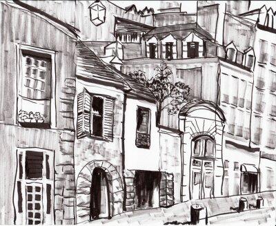 Papiers peints bâtiment tirage de paris à la main