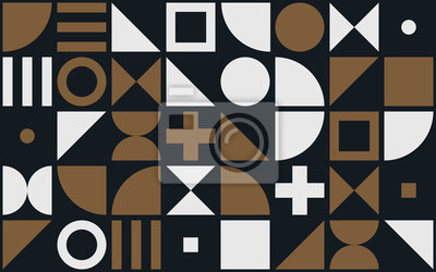 Bauhaus art vecteur de fond des formes géométriques et des éléments simples de cercles, triangles ou carrés et croix
