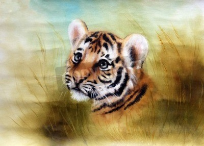 Papiers peints Beau, aérographe, peinture, adorable, bébé, tigre, tête, regarder, dehors, vert ...