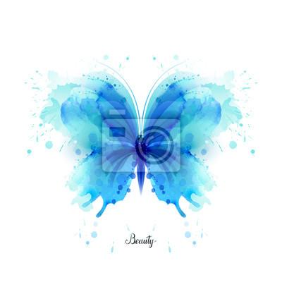 Papiers peints Beau, bleu, aquarelle, résumé, translucide, papillon, blanc, fond Les ailes ressemblent à des éclaboussures d'aquarelle humide.