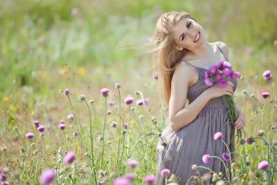 Papiers peints Beau, femme, tas, champ, fleurs