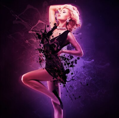Papiers peints Beau, fille, danseur, noir, robe, créatif, pose ...