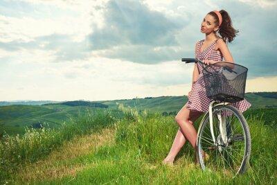 Papiers peints Beau, girl, vendange, vélo, EXTÉRIEUR ...