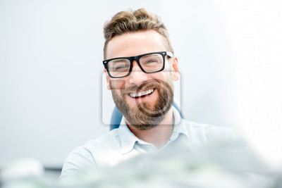 Papiers peints Beau, homme affaires, grand, sourire, séance, dentaire, chaise