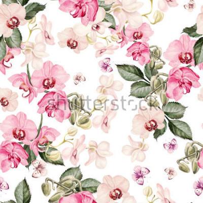 Papiers peints Beau modèle d'aquarelle avec des fleurs d'orchidées. Illustration.