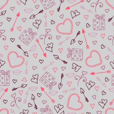 Papiers peints Beau modèle sans couture avec des coeurs, des flèches pour les amoureux.