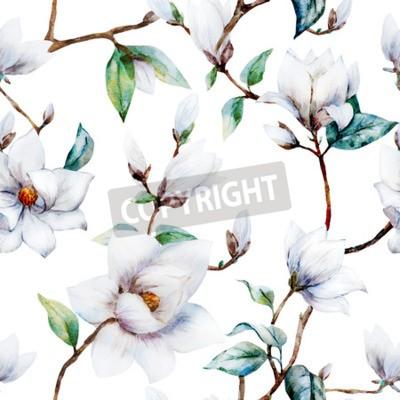 Papiers peints Beau motif raster avec de magnifiques fleurs de magnolia d'aquarelle