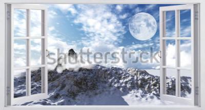 Papiers peints Beau paysage de montagne, la vue depuis la fenêtre.