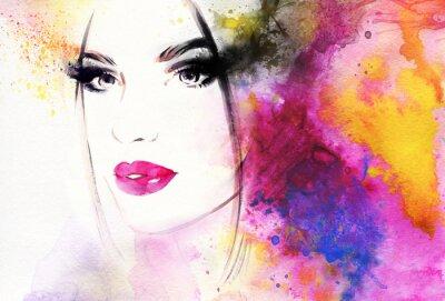 Papiers peints Beau portrait de femme. Résumé, mode, aquarelle, Illustration